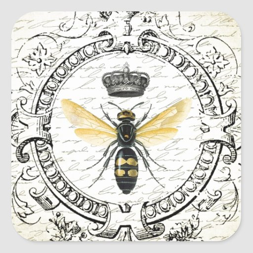MODERN VINTAGE french queen bee Square Sticker