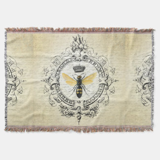 modern vintage french queen bee throw blanket