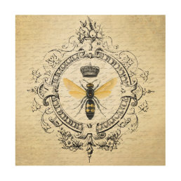 Modern vintage french queen bee wood print