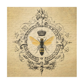 modern vintage french queen bee wood prints