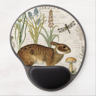 modern vintage french rabbit in the garden gel mouse pad