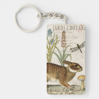 modern vintage french rabbit in the garden keychain