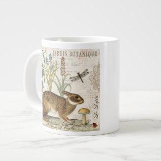 modern vintage french rabbit in the garden large coffee mug