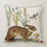 modern vintage french rabbit in the garden throw pillows