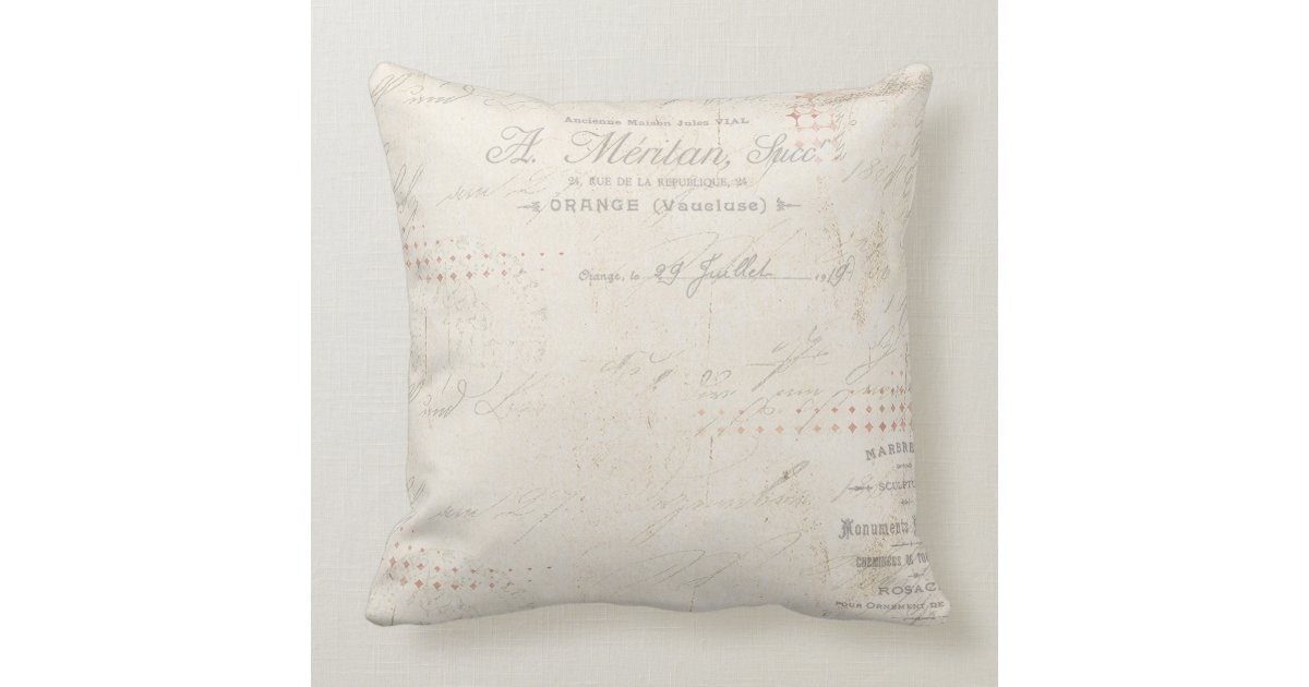 Modern Vintage Pillows : modern vintage french rabbit in the garden throw pillow Zazzle