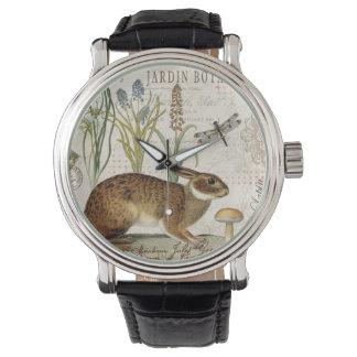 modern vintage french rabbit in the garden wrist watch