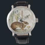 """modern vintage french rabbit in the garden wristwatch<br><div class=""""desc"""">modern vintage french rabbit in the garden</div>"""
