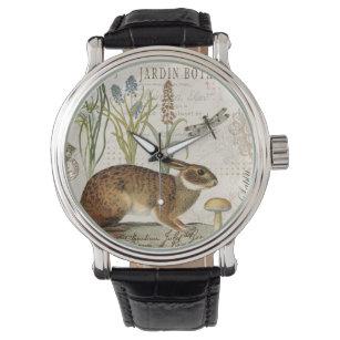 modern vintage french rabbit in the garden wristwatch