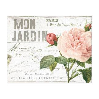 modern vintage french rose postcard canvas print