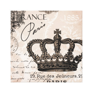 modern vintage french shabby chic crown gallery wrapped canvas