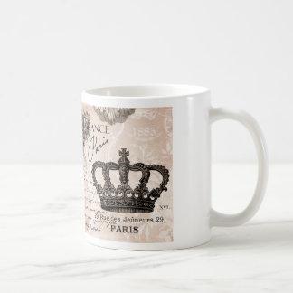modern vintage french shabby chic crown coffee mug