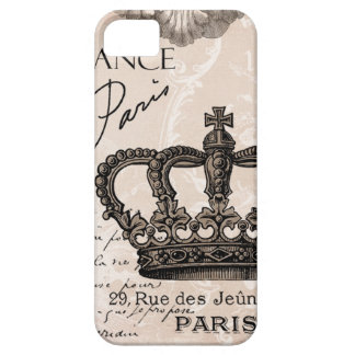 modern vintage french shabby chic crown iPhone SE/5/5s case