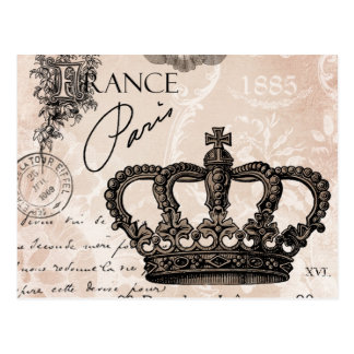 modern vintage french shabby chic crown postcard