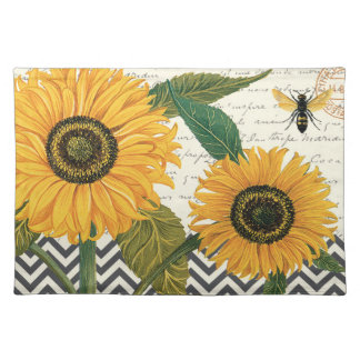 modern vintage french sunflower cloth placemat