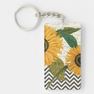modern vintage french sunflower keychain