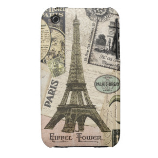 Modern Vintage French travel collage Case-Mate iPhone 3 Cases
