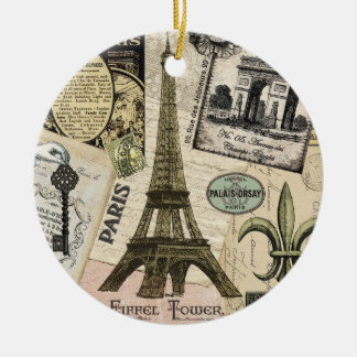 Modern Vintage French travel collage Ceramic Ornament