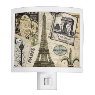 Modern Vintage French travel collage Nite Light