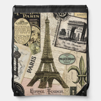 Modern Vintage French travel collage Drawstring Backpack