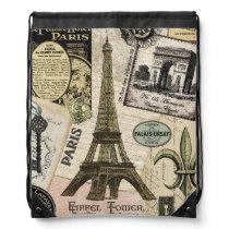 Modern Vintage French travel collage Drawstring Bag