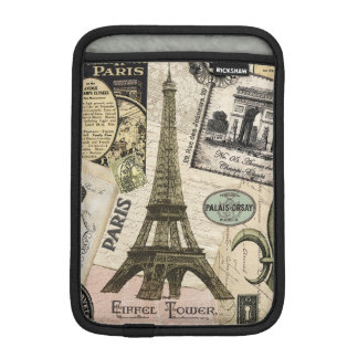 Modern Vintage French travel collage iPad Mini Sleeves