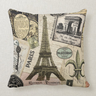 Modern Vintage French travel collage Pillow