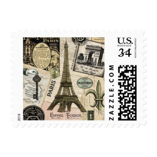 Modern Vintage French travel collage Postage Stamps