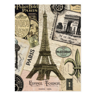 Modern Vintage French travel collage Postcard