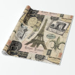 Modern Vintage French Travel Collage Wrapping Paper at Zazzle
