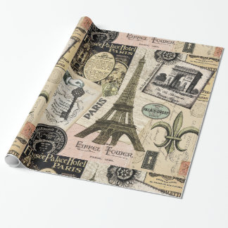 Modern Vintage French travel collage Wrapping Paper