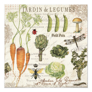 modern vintage french vegetable garden card