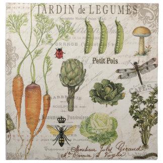 modern vintage french vegetable garden cloth napkin