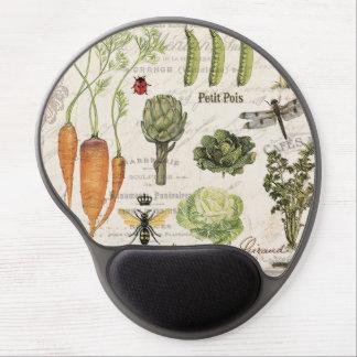 modern vintage french vegetable garden gel mouse pad