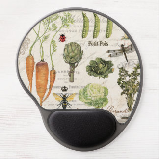 modern vintage french vegetable garden gel mouse pad