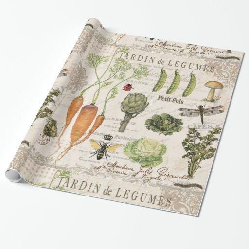 modern vintage french vegetable garden gift wrap | Zazzle