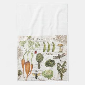 modern vintage french vegetable garden kitchen towel