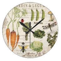 modern vintage french vegetable garden large clock