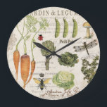 "modern vintage french vegetable garden large clock<br><div class=""desc"">modern vintage french vegetable garden</div>"