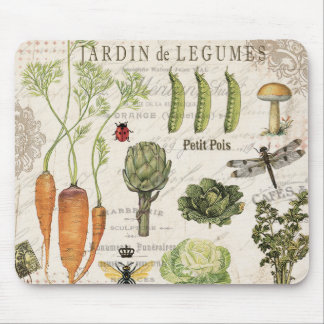 modern vintage french vegetable garden mouse pad