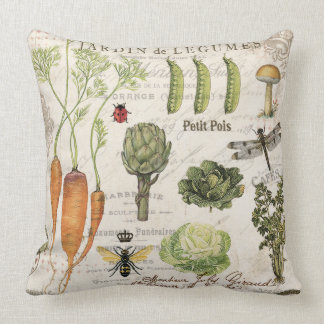 modern vintage french vegetable garden throw pillow