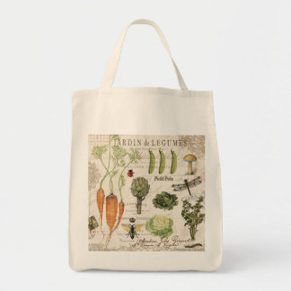 modern vintage french vegetable garden tote bag