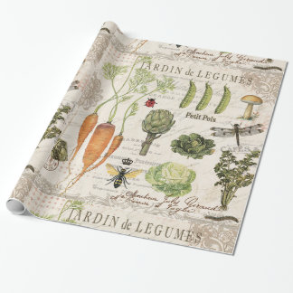 modern vintage french vegetable garden wrapping paper