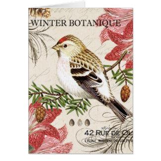 modern vintage french winter bird card