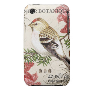 modern vintage french winter bird Case-Mate iPhone 3 cases