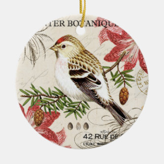 modern vintage french winter bird ceramic ornament