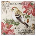 modern vintage french winter bird ceramic tile