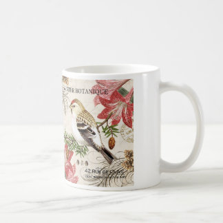 modern vintage french winter bird coffee mug