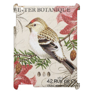 modern vintage french winter bird iPad cover