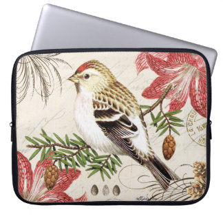 modern vintage french winter bird laptop sleeves