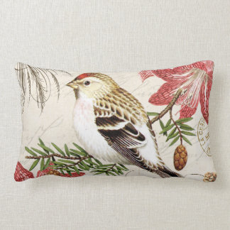 modern vintage french winter bird lumbar pillow